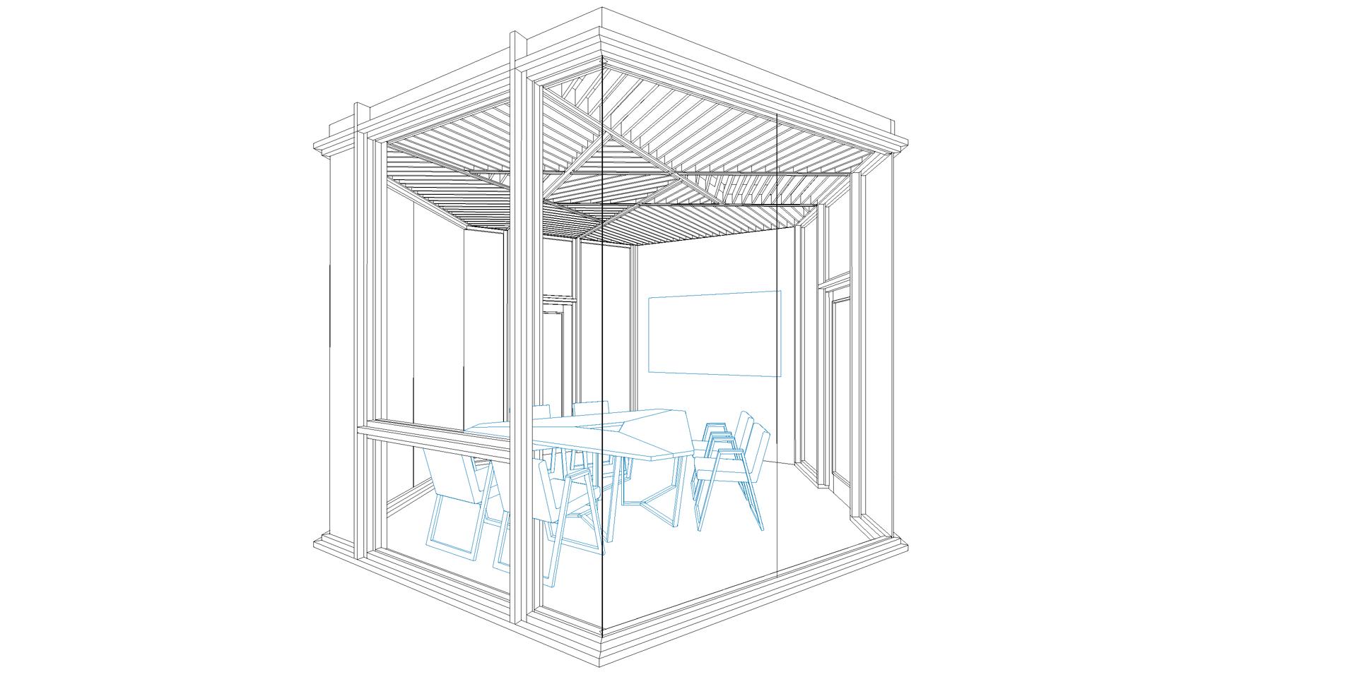 conference room option, wooden pavilion