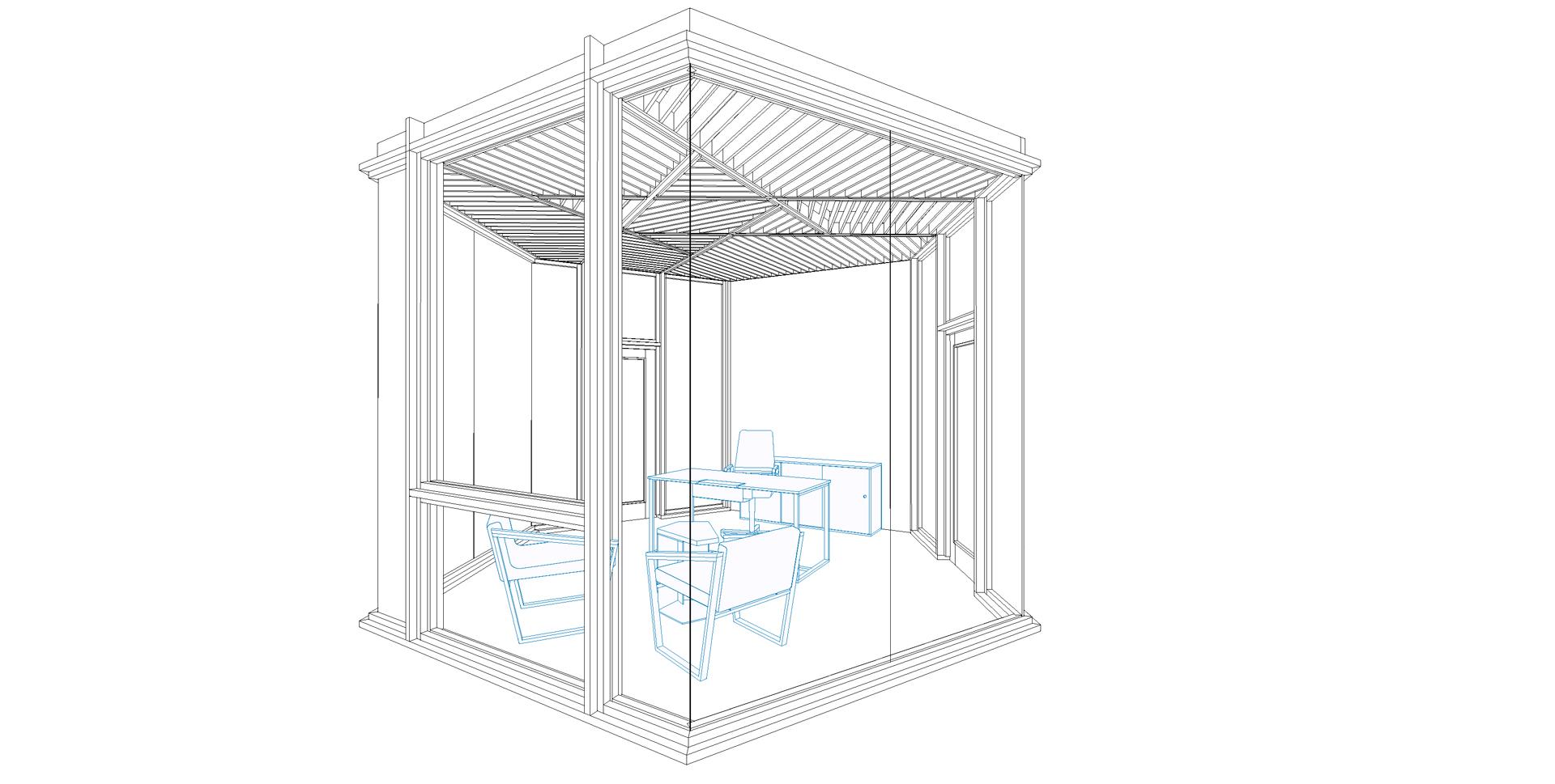 wooden pavilion, 3d visualisation, office option