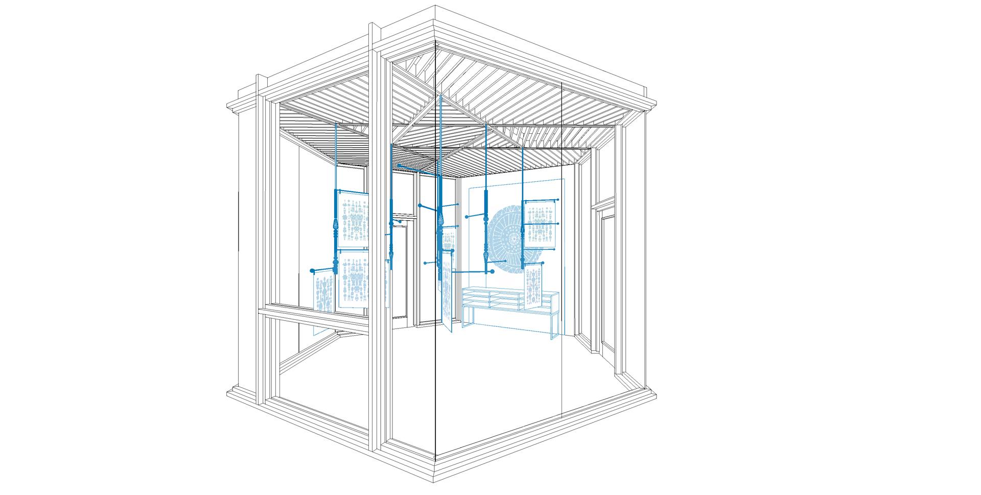 wooden pavilion, 3d visualisation, popup option