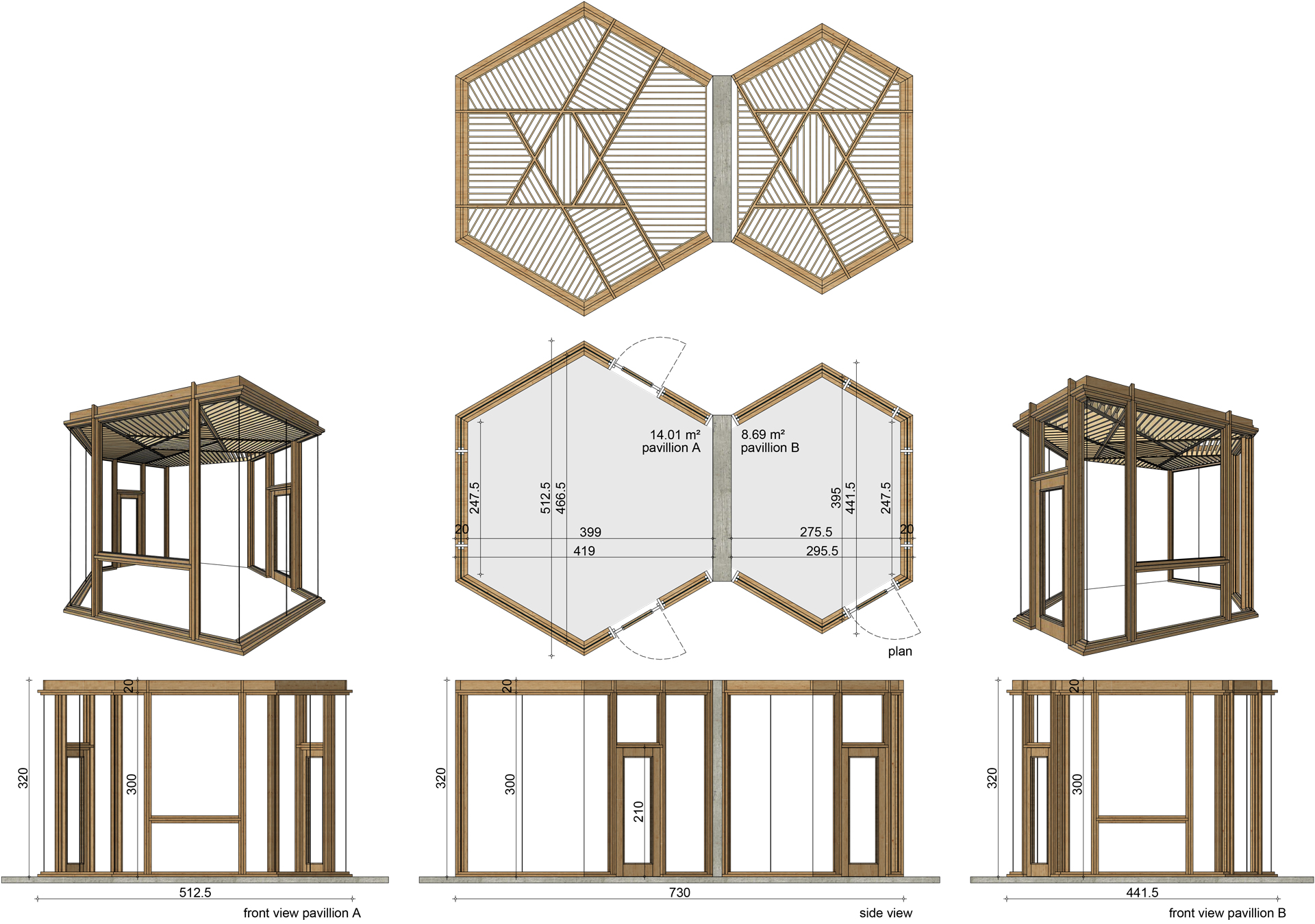 pavilions, multifunctional, wooden, for sale