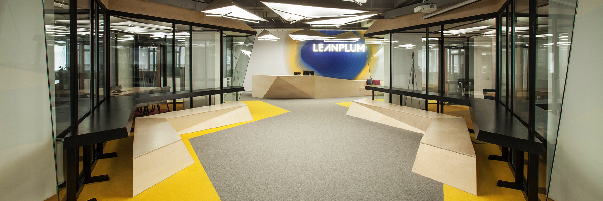 leanplum, front desk design, welcome area, office design